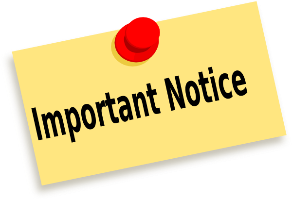 Yellow, important notice stamp for parents