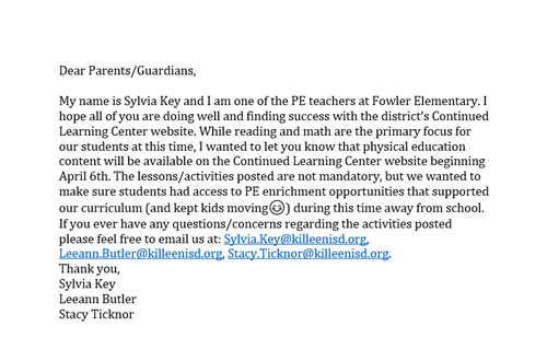 PE Letter to Parents