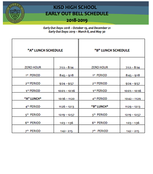 Bell Schedules Early Release
