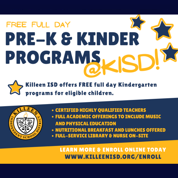 Killeen ISD offers FREE full day programs for eligible children.