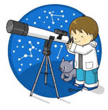 child looking through a telescope at the night sky with pet cat