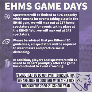 Rules and expectations for athletic games at EHMS
