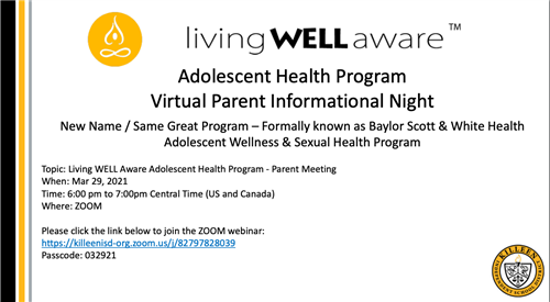 Adolescent Health Program Virtual Parent Informational Night