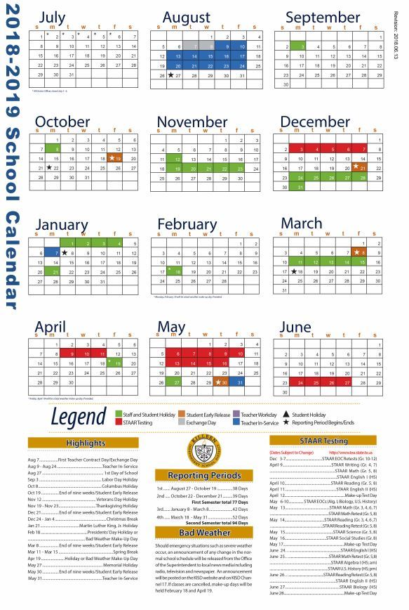 Kisd Calendar 2019 Teacher Resources / 2018   2019 District Staff Calendar
