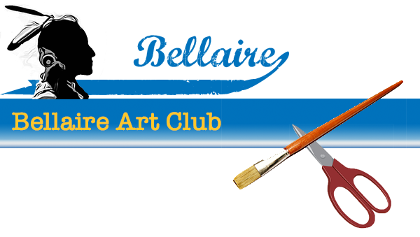 Bellaire Art Club image at top showing the text Art Club and also collage of a paintbrush and a art tools