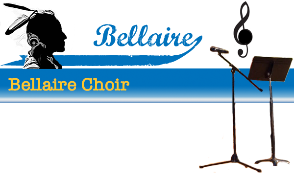 top background image with text containing Bellaire Choir Club. There is also a music note in the background