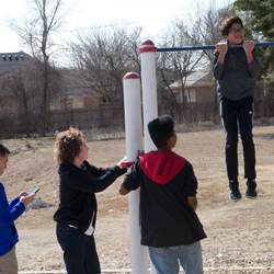 Students enjoy time at the park during their visit to collect samples.