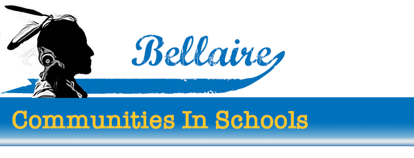 Bellaire text with a Native American silhouette on top of the Communities in Schools title