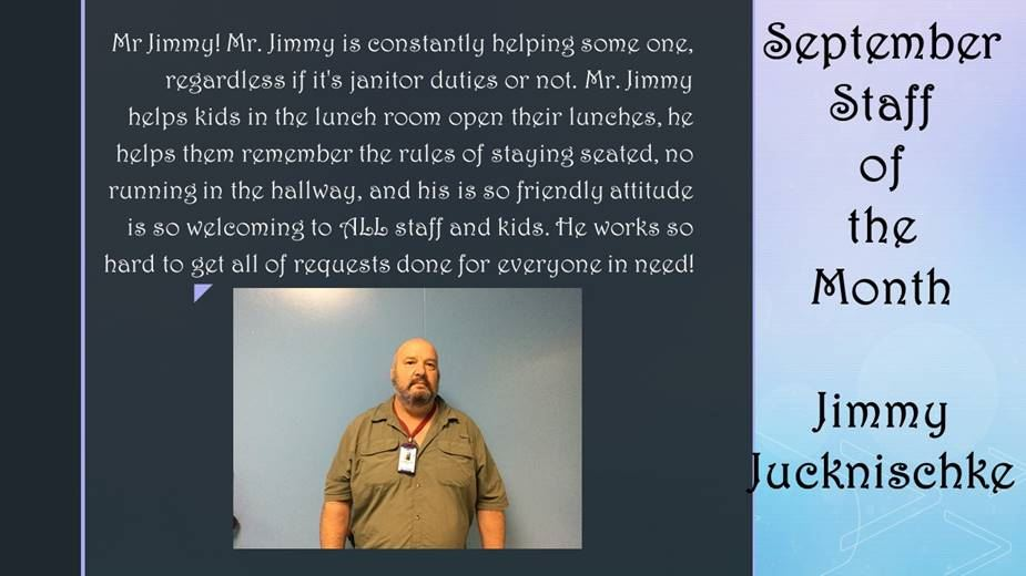 September Staff Member of the Month Jimmy Jucknischke