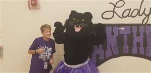 Principal Brown with panther mascot
