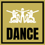 Image of 5 person dance team and the word dance
